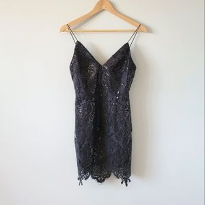 NWT TOBI Sequin Little Black Dress w/ Lace Hem